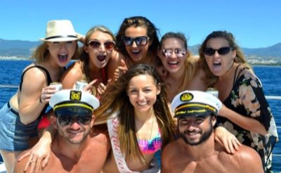 mixed croud on a boat